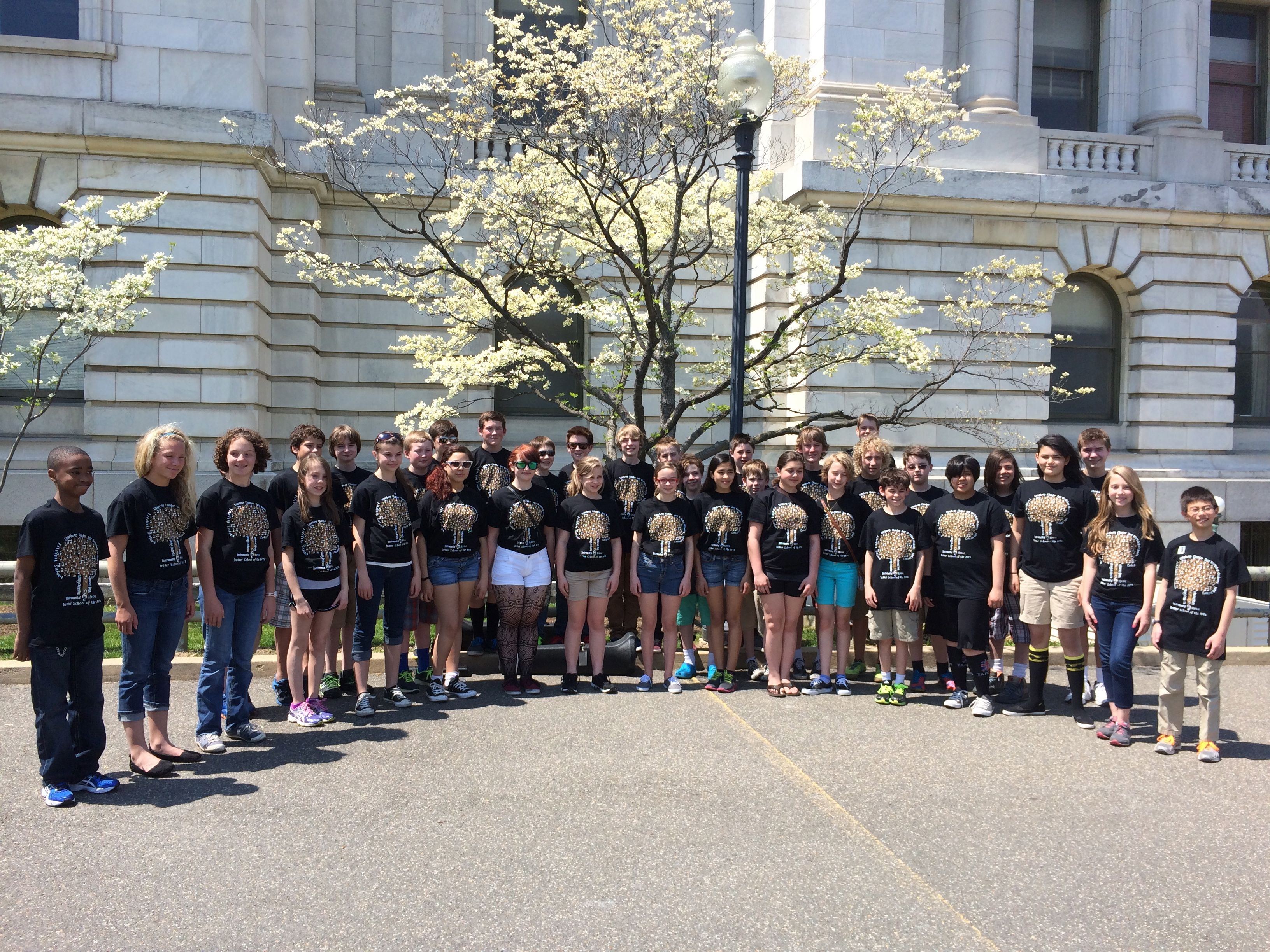 "The DSA Concert Band poses outside the USDA Building in Washington DC before their performance there.  105 Band students from DSA went to DC in a whirlwind tour April 24-30, 2014.  More pictures in the ""Current Happenings"" page."