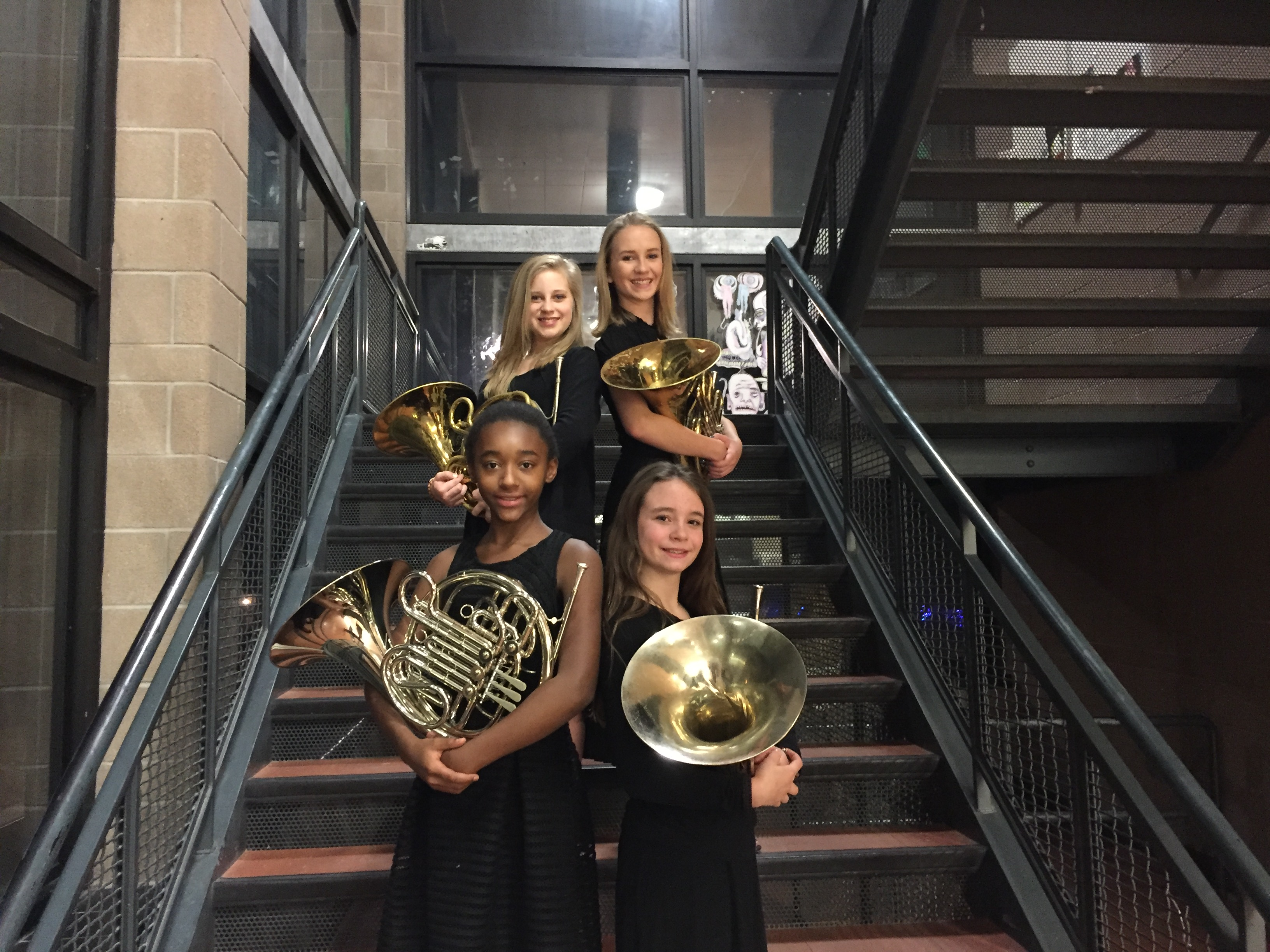The French Horn section of the DSA Concert Band before the Winter Show dress to impress and then played a beautiful concert.