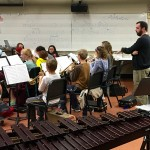 Dr. Scott Muntefering from Wartburg College works with the Concert Band on 10/30.  He also worked with the Wind Ensemble.