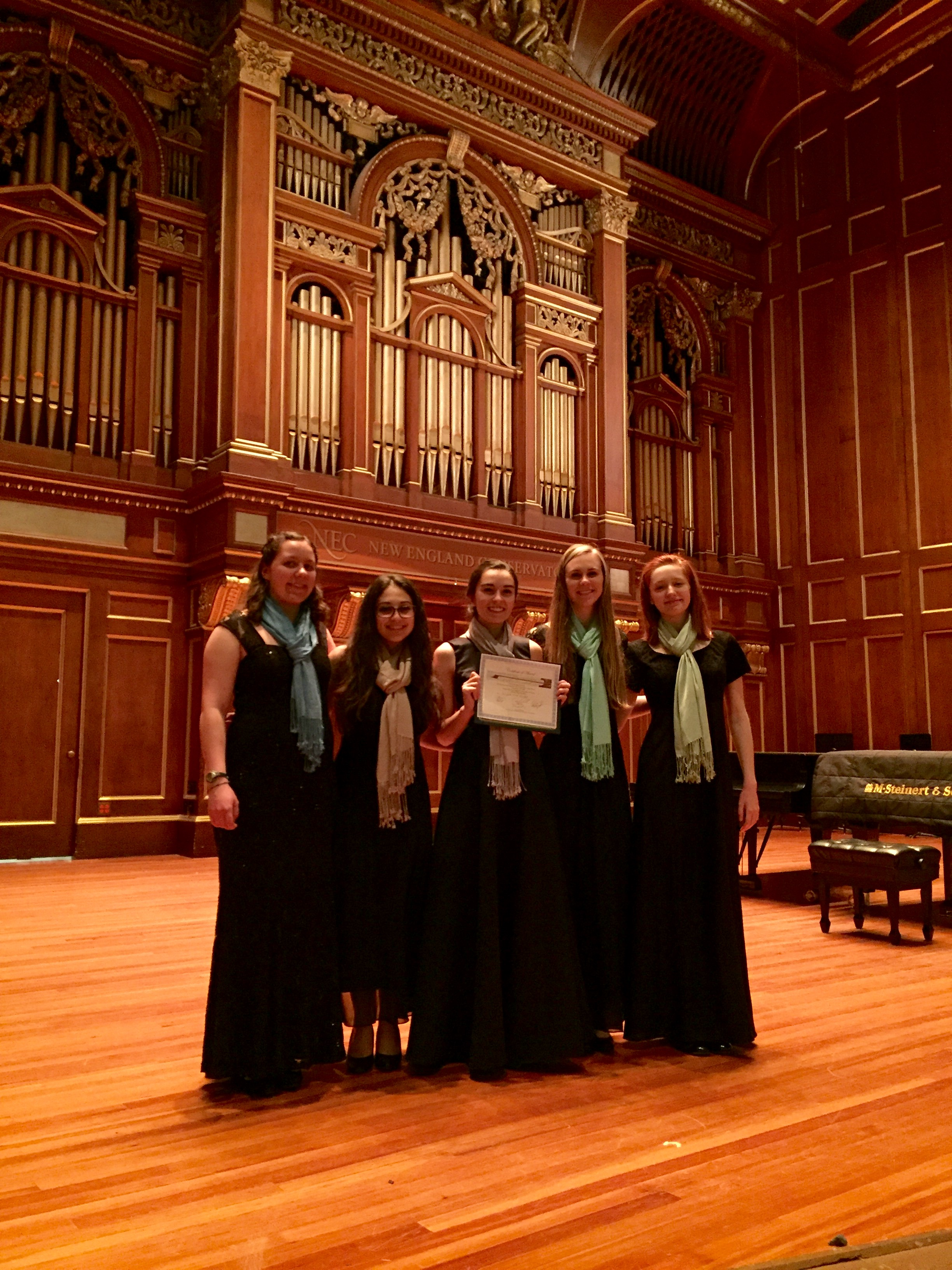 DSA students Abby Davidson, Jenna Pizer and Tatia Slouka performed in the finals of a National Chamber Music Competition at New England Conservatory, Boston.